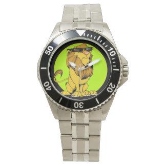 不機嫌なライオンの鋭い歯の腕時計 腕時計