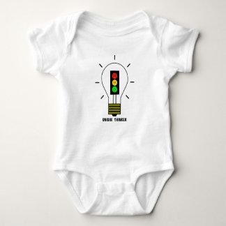 不機嫌な信号の電球のユニークな思想家 ベビーボディスーツ
