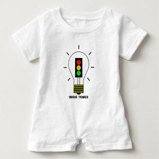 不機嫌な信号の電球のユニークな思想家 ベビーロンパース