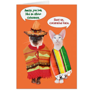 不機嫌な猫のCinco deメーヨー カード