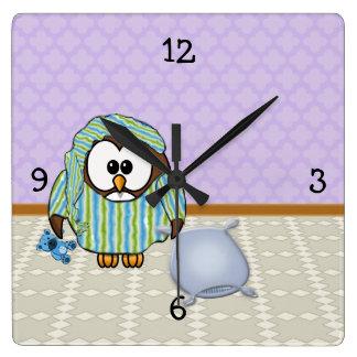 不精なフクロウ-私は月曜日をしません! スクエア壁時計