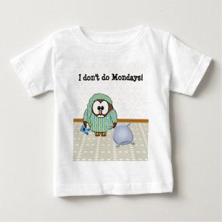 不精なフクロウ-私は月曜日をしません! ベビーTシャツ
