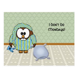 不精なフクロウ-私は月曜日をしません! ポストカード