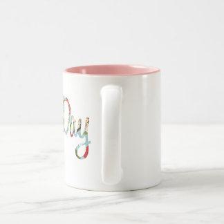 不精な日の花柄のマグ ツートーンマグカップ