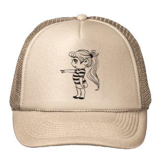 不足分のかわいいポニーテールの女の子 トラッカー帽子