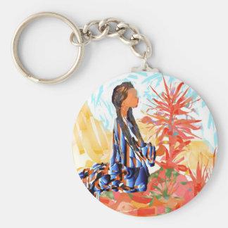 与える木ネイティブアメリカンの女の子の祈ること キーホルダー