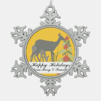 世俗的な動物の森林クリスマスのシカの休日 スノーフレークピューターオーナメント