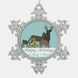 世俗的な森林クリスマスのシカ家族の休日 スノーフレークピューターオーナメント
