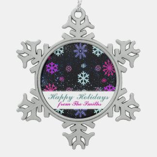 世俗的な雪片の絵の休日の挨拶 スノーフレークピューターオーナメント