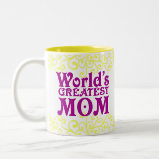 世界ですばらしいお母さんおよび先生 ツートーンマグカップ