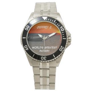 世界ですばらしい父、名前入りな漁船 腕時計