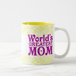 世界ですばらしくお母さん黄色い渦巻 ツートーンマグカップ