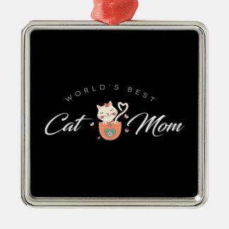 世界で子ネコの母のための最も最高のな猫のお母さん メタルオーナメント