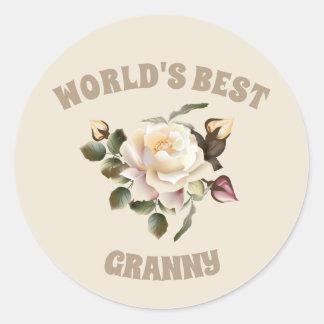 世界で最も最高のなおばあさんの円形のステッカー ラウンドシール