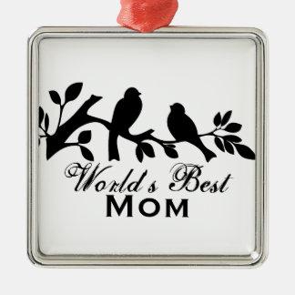 世界で最も最高のなお母さんのすずめのシルエットの枝デザイン メタルオーナメント