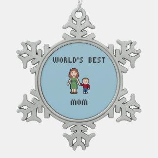 世界で最も最高のなお母さんのピューターの雪片のオーナメント スノーフレークピューターオーナメント