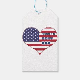 世界で最も最高のなパパの米国旗のハート ギフトタグ