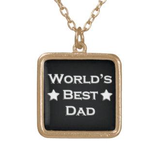 世界で最も最高のなパパ ゴールドプレートネックレス