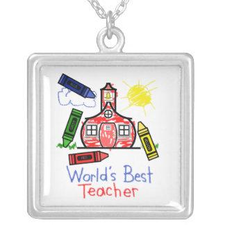 世界で最も最高のな先生のネックレス-クレヨンのスケッチ シルバープレートネックレス