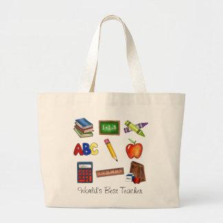 世界で最も最高のな先生の学校の教授教育のバッグ ラージトートバッグ
