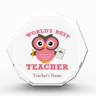 世界で最も最高のな先生-ピンク 表彰盾