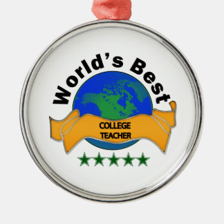 世界で最も最高のな大学先生 シルバーカラー丸型オーナメント