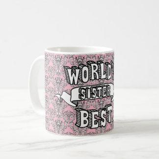 世界で最も最高のな姉妹のタイポグラフィの文字の花柄のマグ コーヒーマグカップ
