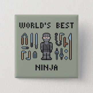 世界で最も最高のな忍者 5.1CM 正方形バッジ