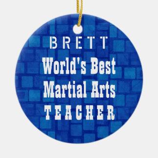 世界で最も最高のな武道の先生の青い煉瓦A11A セラミックオーナメント