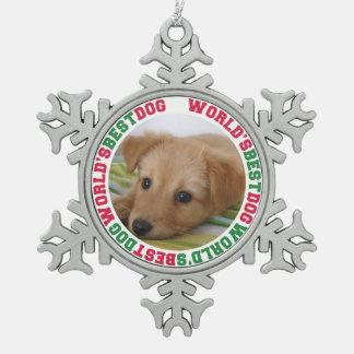 世界で最も最高のな犬のカスタムな写真のクリスマスペット スノーフレークピューターオーナメント