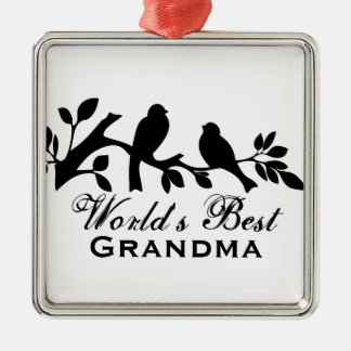 世界で最も最高のな祖母のすずめのシルエットの枝 メタルオーナメント