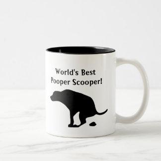 世界で最も最高のなPooper Scooper |犬親|犬のパパ ツートーンマグカップ