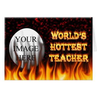 世界で最も熱い先生の火および炎の赤は大理石模様をつけます カード