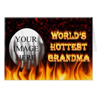 世界で最も熱い祖母の火および炎の赤は大理石模様をつけます カード