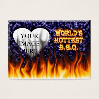 世界で最も熱いBBQの火および炎の青は大理石模様をつけます 名刺