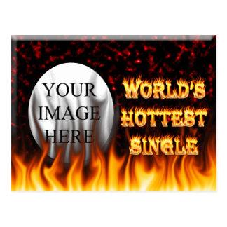 世界で最も熱く独身のな火および炎の赤は大理石模様をつけます ポストカード