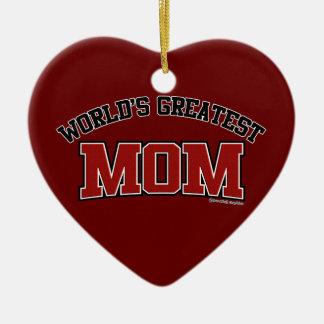 世界で最も素晴らしいお母さんのハートのオーナメント セラミックオーナメント