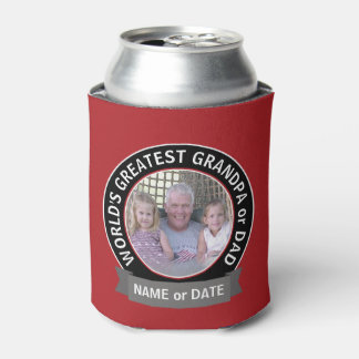 世界で最も素晴らしいパパの祖父の写真の赤い黒 缶クーラー