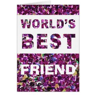 世界で親友のピンクのスパンコールをカスタマイズ カード