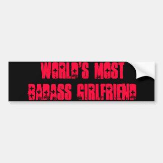 世界のほとんどのBadassのガールフレンド バンパーステッカー
