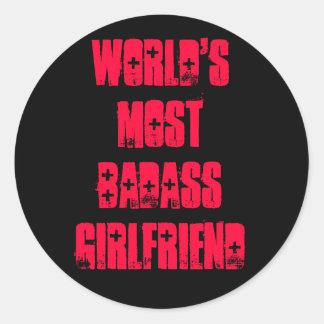 世界のほとんどのBadassのガールフレンド ラウンドシール