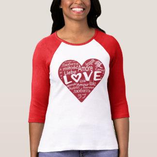 世界のグラフィックのティーのまわりの愛 Tシャツ