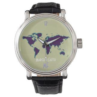 世界のタイムレコーダー及び地図 腕時計