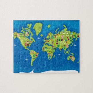 世界のパズルの漫画の地図 ジグソーパズル