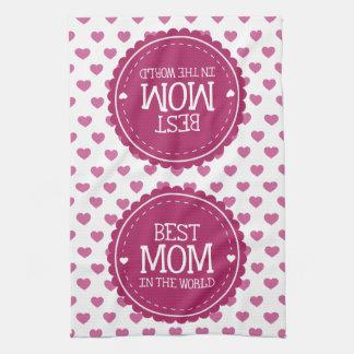 世界のピンクのハートおよび円の最も最高のなお母さん キッチンタオル