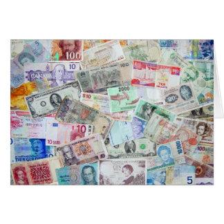 世界のブランクの挨拶状の通貨 カード