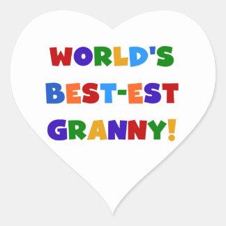 世界のベスト米国東部標準時刻のおばあさんの明るい色 ハートシール