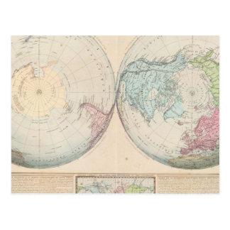 世界の二重半球の地図 ポストカード