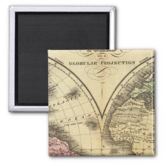 世界の倍半球の地図 マグネット