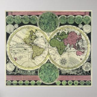 世界の半光沢のレプリカの旧式な地図 ポスター